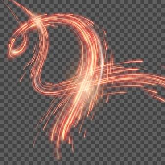 Fondo astratto rosso con le linee curve magiche vaghe della luce al neon.