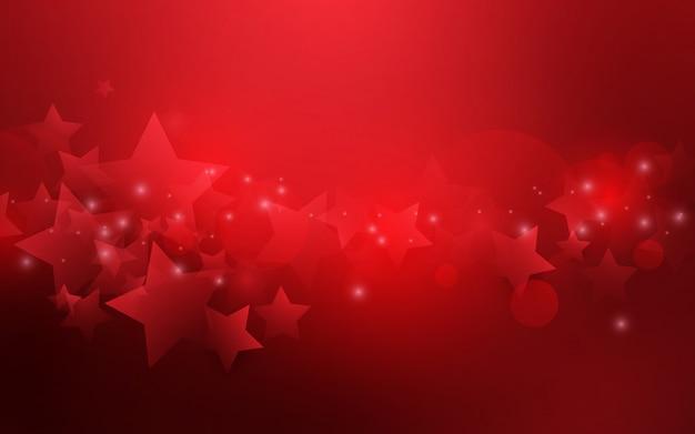 Fondo astratto rosso del bokeh di forma delle stelle.