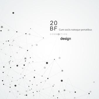 Fondo astratto tecnologia poligonale con punti e linee di collegamento