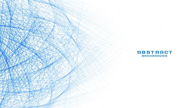 Fondo bianco astratto con la rete a maglie delle linee blu