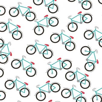 Fondo bianco con il modello dell'illustrazione di vettore delle biciclette