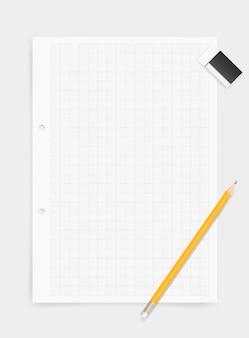Fondo bianco del documento di disegno con la matita e la gomma.