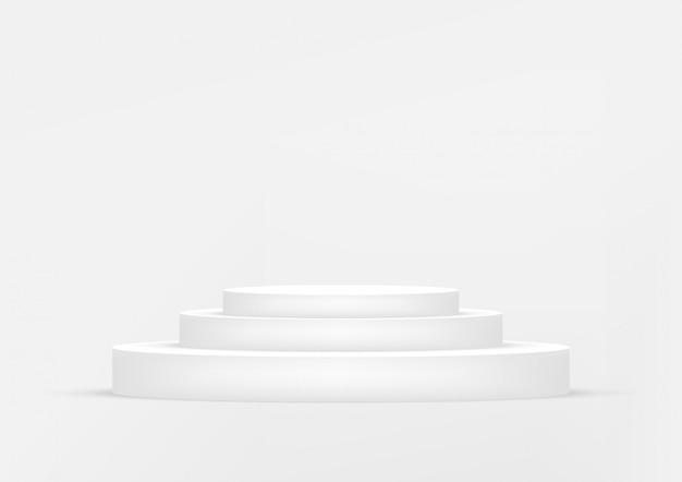 Fondo bianco dello studio vuoto del podio per l'esposizione del prodotto con lo spazio della copia.