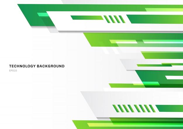Fondo bianco geometrico verde astratto di tecnologia
