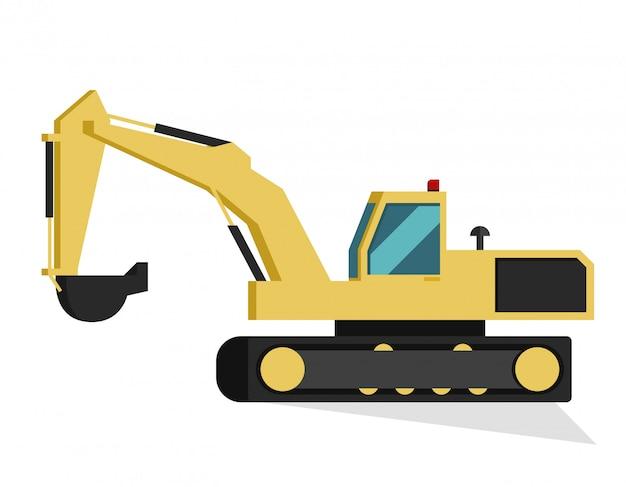 Fondo bianco isolato escavatore della costruzione