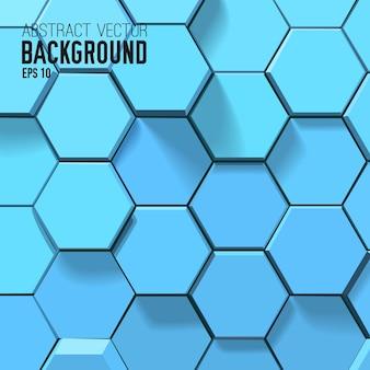 Fondo blu astratto con esagoni geometrici
