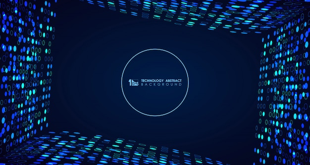 Fondo blu astratto dei punti del cerchio di tecnologia ampia