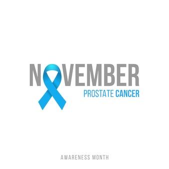 Fondo blu del nastro di consapevolezza del cancro alla prostata