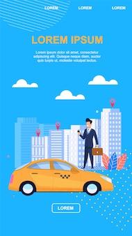 Fondo blu dell'illustrazione di vettore del taxi di affari.