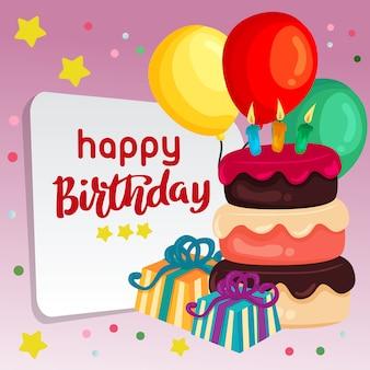Fondo blu di buon compleanno con l'aerostato del dolce della candela