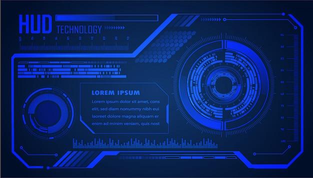 Fondo blu di concetto di tecnologia del circuito cyber di hud di blu hud