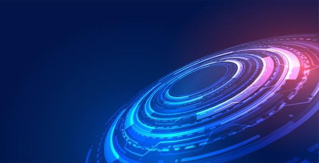 Fondo blu di concetto di tecnologia futuristica con diagramma digitale