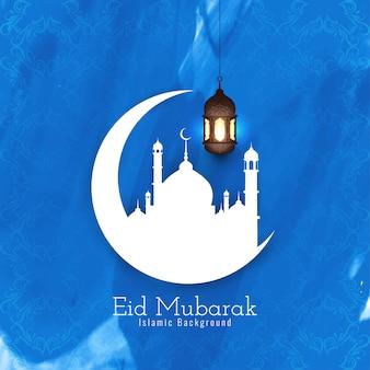 Fondo blu di festival islamico di eid mubarak