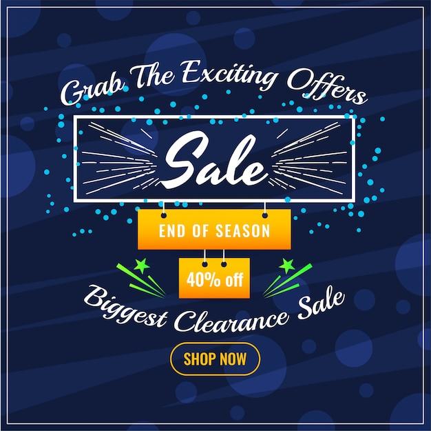 Fondo blu di offerta astratta di vendita