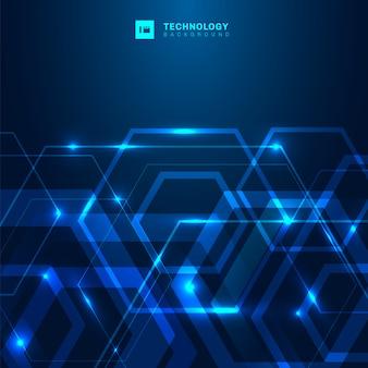 Fondo blu digitale di tecnologia astratta di esagono