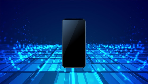 Fondo blu digitale di tecnologia mobile dello smartphone