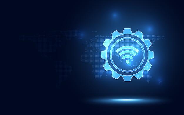 Fondo blu futuristico di tecnologia dell'estratto della connessione senza fili.