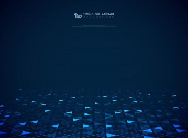 Fondo blu moderno dei triangoli di tecnologia futuristico