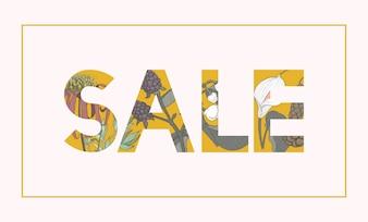 Fondo botanico del modello di parola di vendita