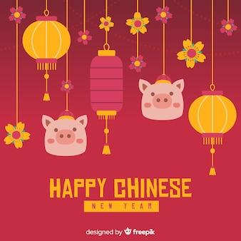 Fondo cinese del nuovo anno degli ornamenti d'attaccatura
