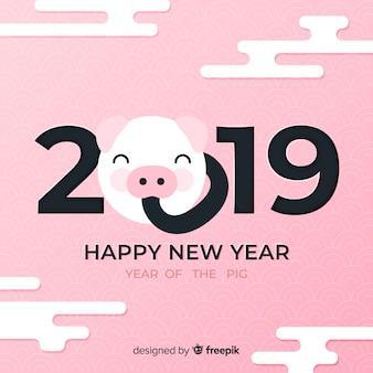 Fondo cinese del nuovo anno del fronte del maiale