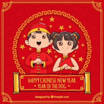 Fondo cinese disegnato a mano del nuovo anno
