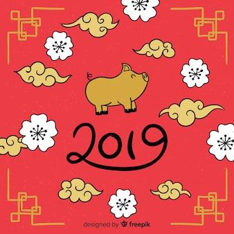 Fondo cinese sorridente del nuovo anno del maiale