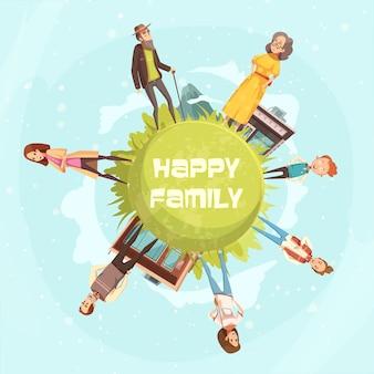 Fondo circolare della famiglia felice con le figurine dei parenti della madre, illustrazione di vettore del fumetto della nonna del nonno del figlio della figlia del padre