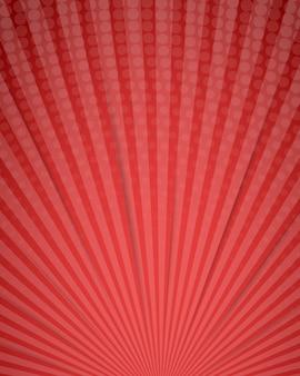 Fondo comico astratto rosso di scarabocchio del fumetto con i raggi e l'elemento di semitono