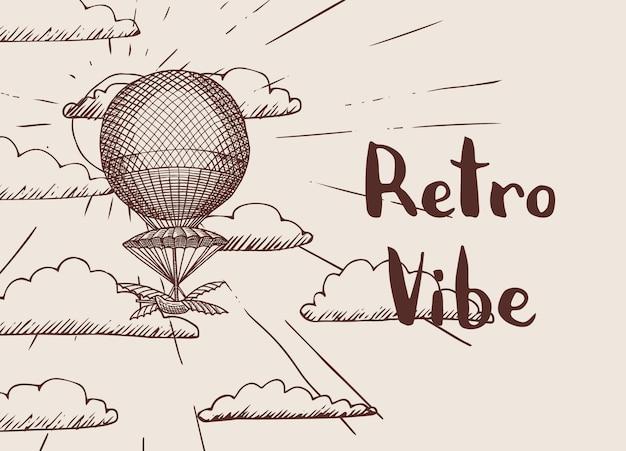 Fondo con l'aerostato di aria disegnata a mano di steampunk davanti al sole e nuvole con il posto per l'illustrazione del testo