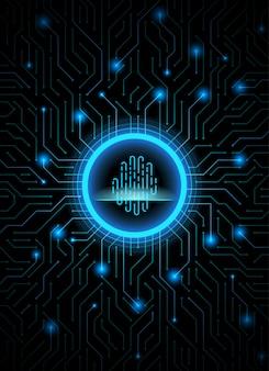 Fondo concettuale digitale astratto blu scuro di tecnologia dell'impronta digitale di sicurezza cyber.