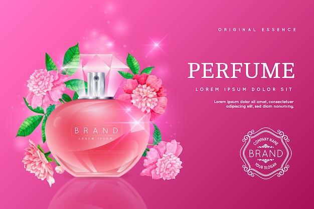 Fondo cosmetico realistico con la bottiglia di profumo