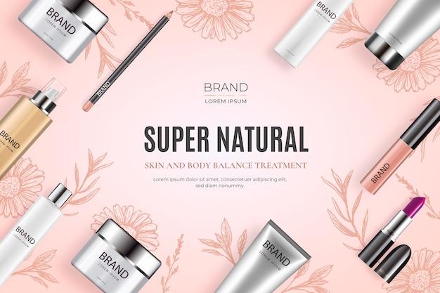 Fondo cosmetico realistico con prodotti di bellezza