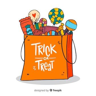 Fondo creativo della borsa della caramella di halloween