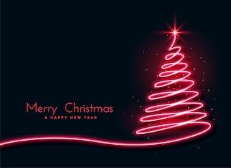 Fondo creativo di progettazione dell'albero di Natale al neon rosso