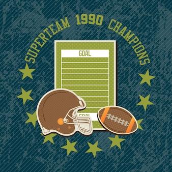 Fondo d'annata americano del campo di football americano di superteam 1990
