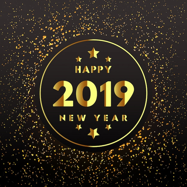 Fondo d'annata del nuovo anno 2019 del cerchio dorato