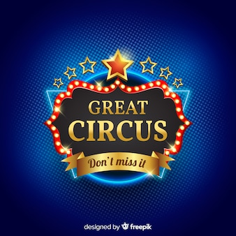 Fondo d'annata del segno della luce del circo