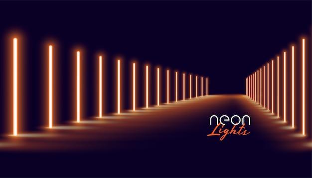 Fondo d'ardore del pavimento della linea delle luci al neon dorate