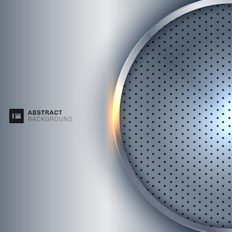 Fondo d'argento metallico di bianco della struttura del cerchio astratto