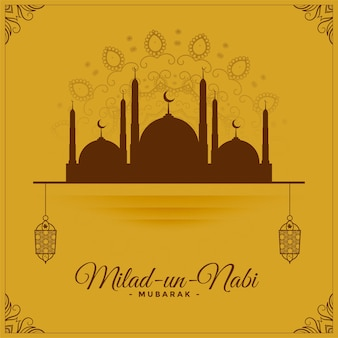 Fondo decorativo di saluto islamico di milad delle nazioni unite nabi