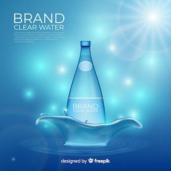 Fondo defocused della pubblicità dell'acqua minerale