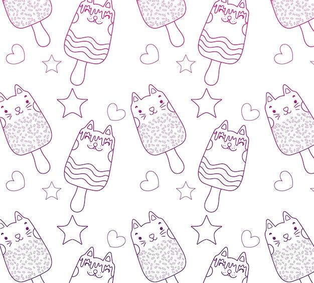 Fondo degradato dei ghiaccioli dei gatti di kawaii del profilo