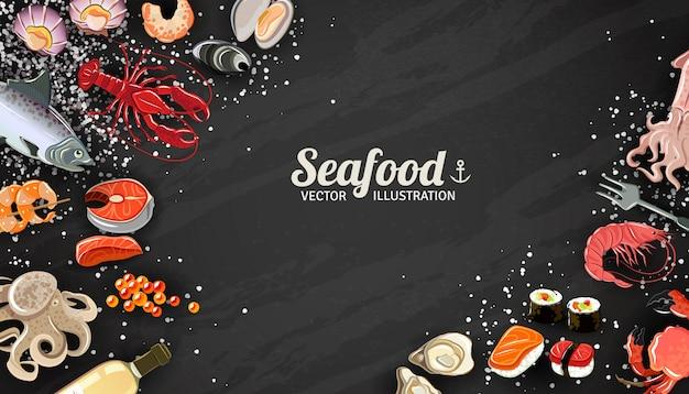 Fondo dei frutti di mare con l'illustrazione della squisitezza dei sushi e dei gamberetti dei pesci