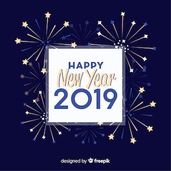 Fondo dei fuochi d'artificio della stella del nuovo anno