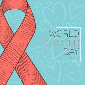 Fondo del 4 febbraio di giorno del cancro del mondo, nastro disegnato a mano, vettore