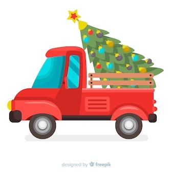 Fondo del camion di consegna dell'albero di natale