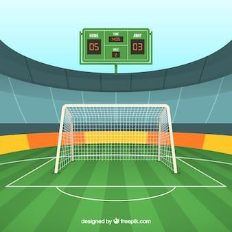Fondo del campo di calcio con il tabellone segnapunti