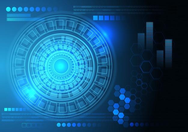 Fondo del computer di tecnologia del circuito del cerchio di dati dello schermo blu.