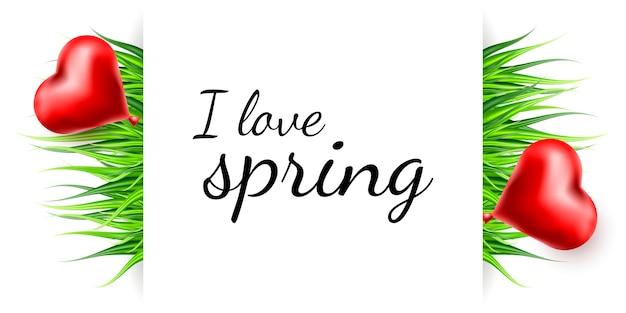 Fondo del cuore dell'erba della primavera